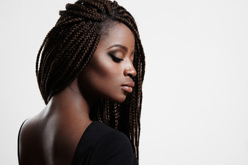 black woman with braids and evening smokey eyes Wall mural