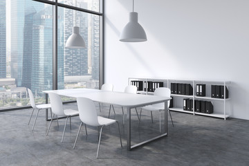 A conference room in a modern panoramic office with Singapore view. White table, white chairs, a bookcase and two white ceiling lights. 3D rendering.