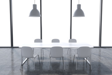 A conference room in a modern panoramic office with whit copy space in the windows. White table, white chairs and two white ceiling lights. 3D rendering.