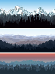 vector alps mountains forest background texture seamless pattern