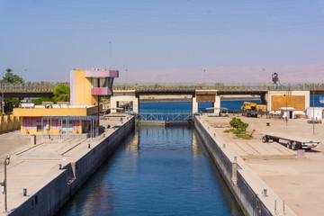 Sluice gate on the Nile river, Egypt.  watergate near Esna