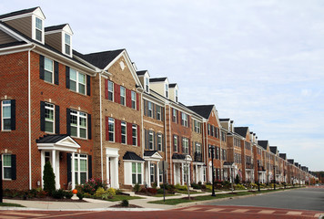 Perspective row of new townhouses, Virginia, USA