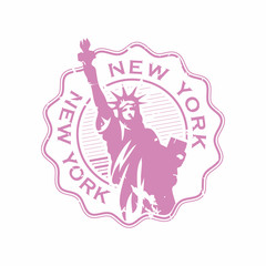 Vector New York Rubber bottle cap stamp