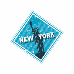 Vector New York Rubber Diamond Mail Stamp