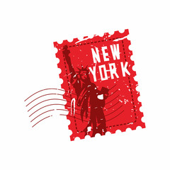 Vector New York Rubber Mail Stamp