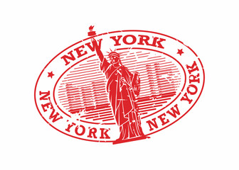 Vector New York Rubber Oval Mail Stamp