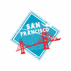 Vector San Francisco Rubber Diamond mail stamp