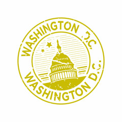 Vector Washington DC Rubber Mail stamp