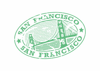 Vector San Francisco Rubber Oval mail stamp