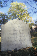 Headstone at historic CLD Burying Ground, Cambridge, MA