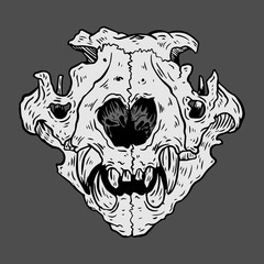 Isolated black and white vector Cat skull