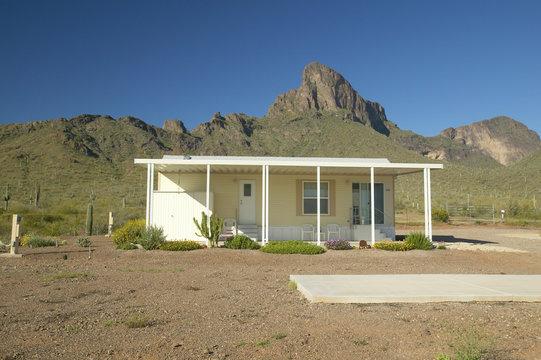 White modular home in the desert near Picacho Peak State Park, AZ