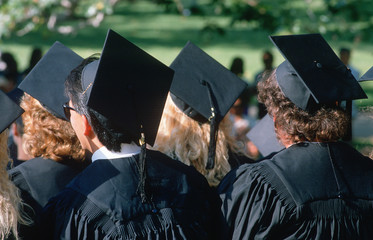 Graduating class walking towards their ceremony, UCLA, Los Angeles, CA