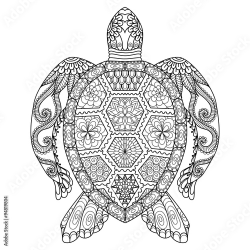 Drawing zentangle turtle for coloring page shirt design for How much does it cost to buy a fishing license