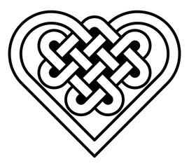 Celtic heart knot isolated illustration