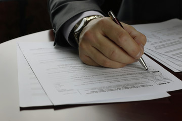 hand signed tax form