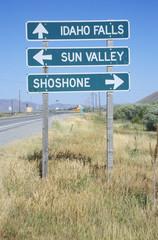 A sign that reads ÒIdaho Falls/Sun Valley/ShoshoneÓ