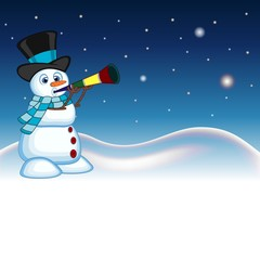 Snowman wearing a hat and a blue scarf blowing horns with star, sky and snow hill background for your design vector illustration