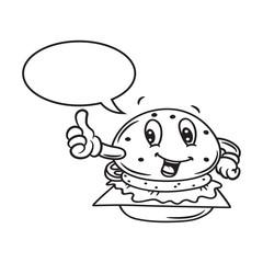 cartoon hamburger with bubble speech