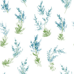Hand painted watercolor flowers seamless pattern. Vector illustration