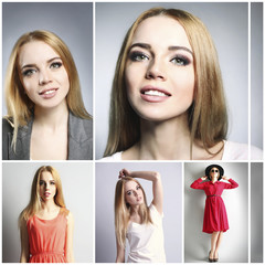 Collage of photos with beautiful young woman. Fashion concept