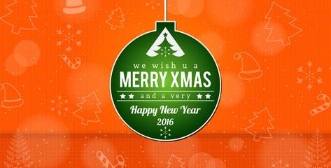 Merry Xmas Background Happy New Year 2016.