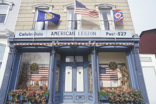 American Legion Post 527 Building with Flags, Seneca Falls, New York