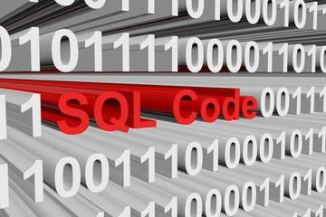 SQL Code presented in binary code