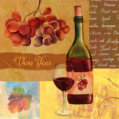 Vintage collage with watercolor red wine and old papers