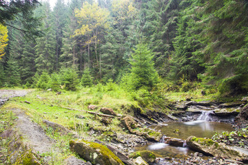 Autumn mountain river view with waterfall and bridge (Ukraine, Jaremcha)