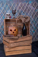 Alchemy Halloween composition with pumpkin