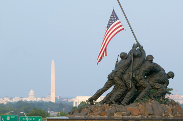 National Iwo Jima War Memorial Monument in Rosslyn, Virginia overlooking Potomac and Washington D.C.
