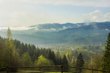 Autumn View of the Ukrainian Carpathian mountains,