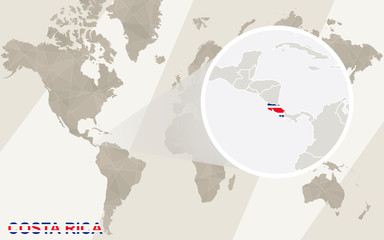 Zoom on Costa Rica Map and Flag. World Map.
