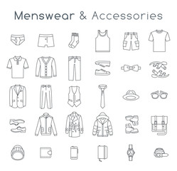 Men fashion clothing and accessories flat line vector icons. Linear objects of male outfit clothes, underwear, shoes and every day essentials for any season. Modern urban casual style elements for man