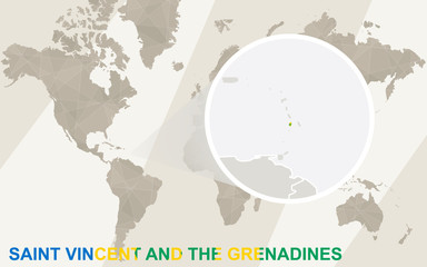Zoom on Saint Vincent and the Grenadines Map and Flag. World Map