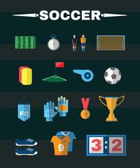 Soccer Football Game Items Flat Design