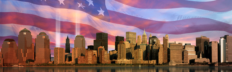 Digital composite: Manhattan skyline, World Trade Center Light Memorial,  American flag