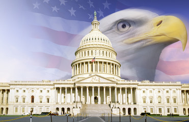 Digital composite: U.S. Capitol with American eagle and flag