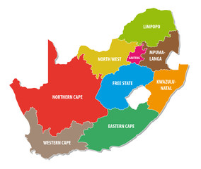 south africa colorful administrative map