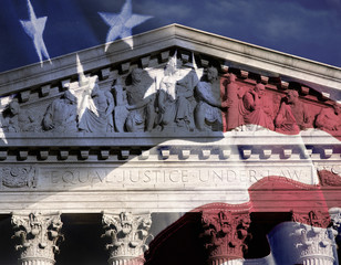 Digital composite: Supreme Court Building and American flag
