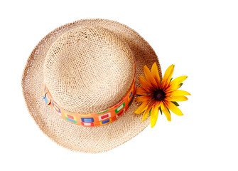 Straw hat with a flower, isolated