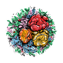 bouquet of colorful flowers on a white background, peony,buttercup, ranunculus, poppy, vector illustration