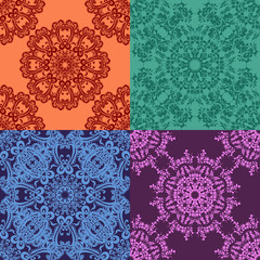 Set of 4 abstract seamless pattern