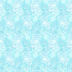 Watercolor decorative blue floral backdrop with Indian ornament