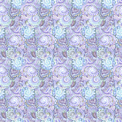 Muted abstract seamless pattern with Indian ornamental design