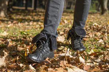 Walk in the autumn park.