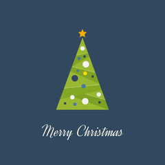 Green decorated Christmas tree with a yellow star