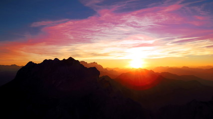 Beautiful sunset from mountains - Julian Alps