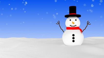 Snowman in winter - blue variant